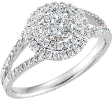 14K White Gold Cluster Halo Split Shank Diamond Engagement Ring