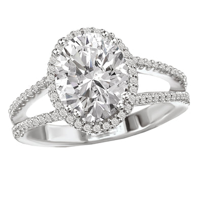 18k Designer DEF Oval Moissanite & Diamond Halo Split Band Engagement Ring 2.75ct