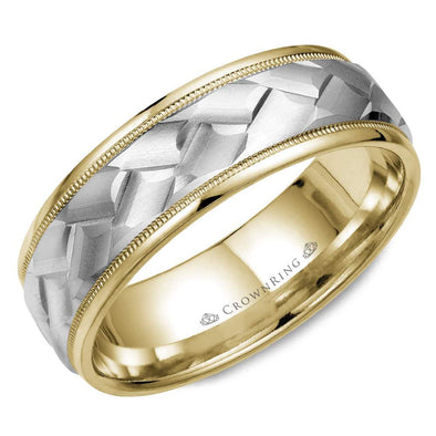 Gents 14K White & YG Wedding Band w/ Milgrain Detailing & Carved WG Center WB-9583 (7mm)