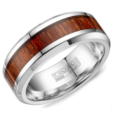 Gents White Cobalt Wedding Band w/ Wood Pattern Inlay CB-0002 (8mm)