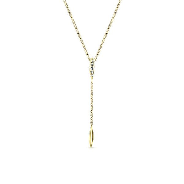 14K Yellow Gold Diamond Petite Y Knots