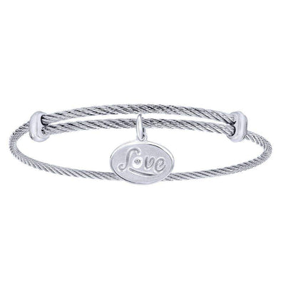 Gabriel NY 925 Silver/Stainless Steel Love Charm Bangle