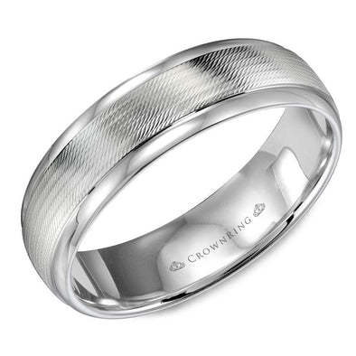 Gents 14K WG Wedding Band w/ Textured Center & Polished Edges WB-9560 (6mm)