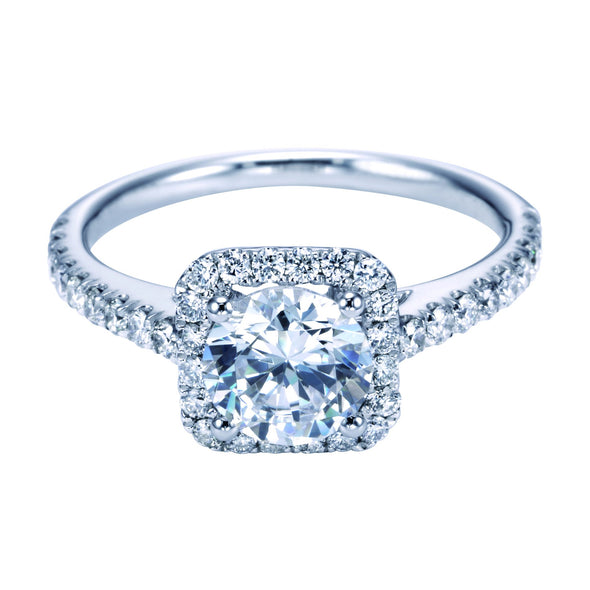 14K Contemporary Cathedral Head Diamond Halo Engagement Ring