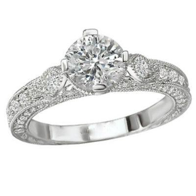 18k Gold Designer DEF Moissanite & Diamond Art Deco Repro Engagement Ring 1.38ct