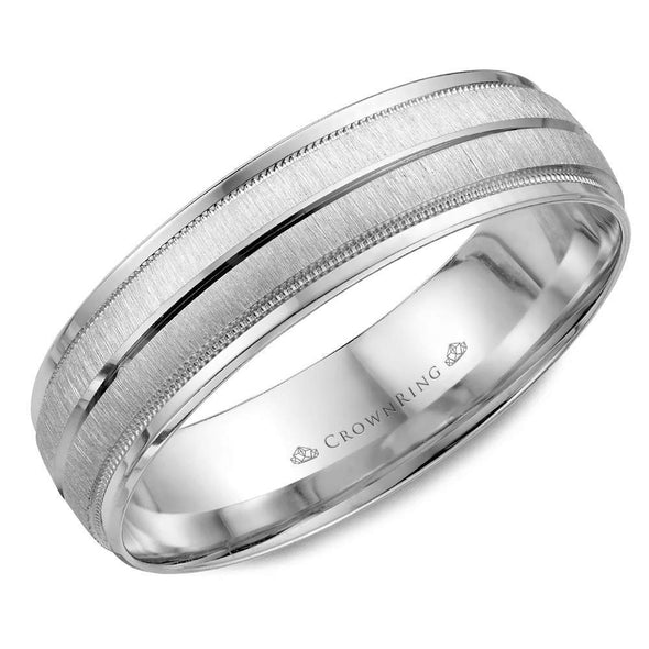 Gents 14K WG Textured Wedding Band w/ Line & Milgrain Detailing WB-7933 (6mm)