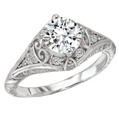 18k Designer DEF Round Moissanite & Diamond Art Deco Style Engagement Ring NEW