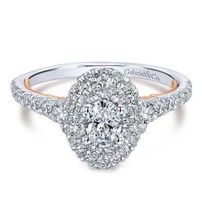 14k 2 tone Rose Gold DEF Oval Moissanite & Halo Diamond Engagement Ring 1.16ct. tw.