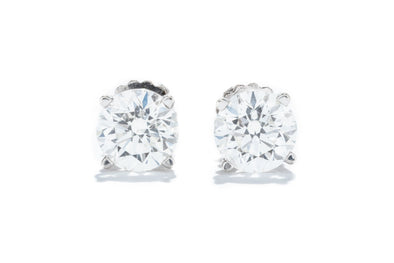 14K White Gold 1CT. TW. 4 Prong Basket Style Diamond Stud Earrings