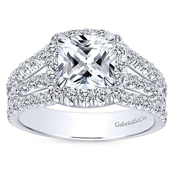 Gabriel NY Sabrina 14K Gold Cushion Cut Contemporary Diamond Engagement Ring Setting