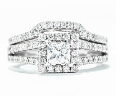 Adele Diamond 14K White Gold Princess Cut Diamond Split Shank Halo Engagement Ring Set