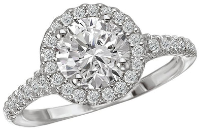 14K Contemporary Straight Band Diamond Halo Engagement Ring