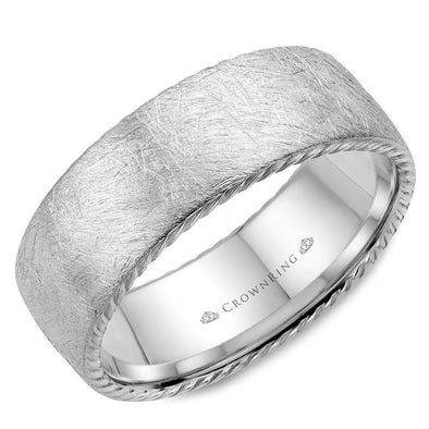Gents 14K WG Wedding Band w/ Diamond Brushed Finish & Rope Detailing WB-006R8W (8mm)