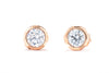 14K Rose Gold 1/2CT. TW. Diamond Bezel Set Stud Earrings