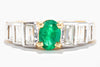 18K White & Yellow Gold Oval Columbian Emerald & Baguette Diamonds Ring