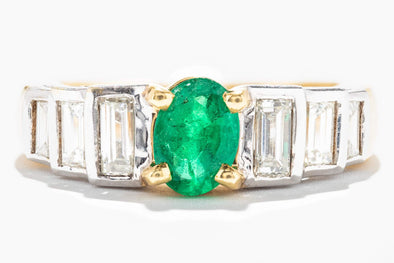 Adele Diamond 18K White & Yellow Gold Oval .72ct Emerald & Baguette .89ctw Diamonds Ring