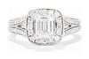 14K White Gold Emerald Cut 1ctw Diamond Halo Engagement Ring