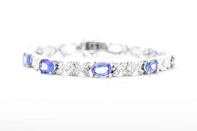 Adele Diamond 18K White Gold 7.65ct Tanzanite & 1.9ctw Diamond Tennis Bracelet with Flower Design 5418