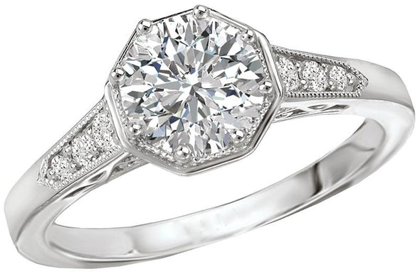 14K Vintage Octagon Halo Diamond Engagement Ring