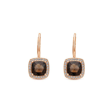 Gabriel NY 14k Rose Gold Smokey Quartz Leverback Earrings