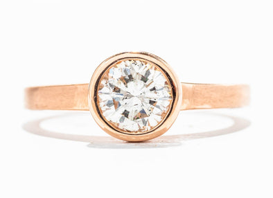 14K Rose Gold Round Solitaire Diamond Engagement Ring