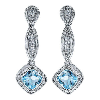 14K White Gold Diamond Sky Blue Topaz Drops