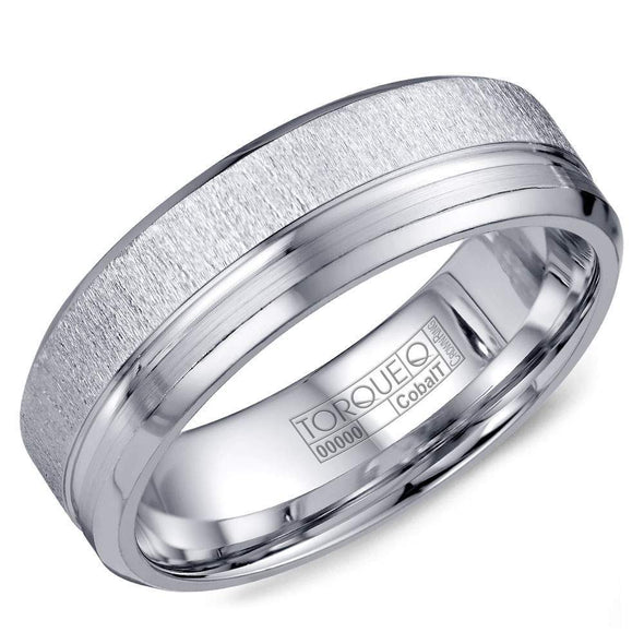 Gents White Cobalt Wedding Band w/ Textured & Line Detailing CB-2198 (7mm)
