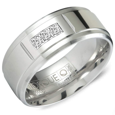 Gents White Cobalt Wedding Band w/ Line Detailing on the Edges CB-2134 (9mm)