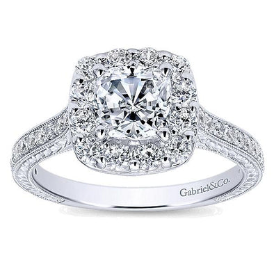 14K Vintage Filigree Diamond Halo Engagement Ring