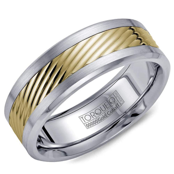 Gents Cobalt & Gold Wedding Band w/ Carved Yellow Gold Inlay CW015MY75 (7.5mm)
