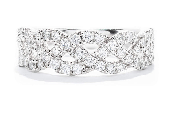 14K White Gold Ladies 3/4CTW Diamond Braided Design Ring