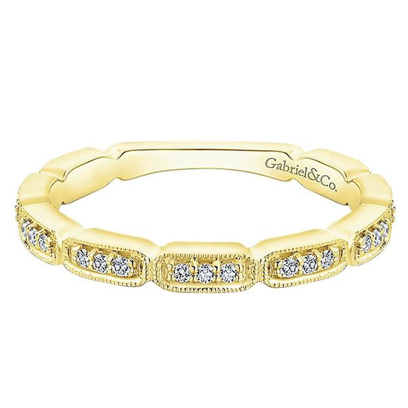 Gabriel NY Ladies 14K Yellow Gold Diamond Stackable Ring LR51176Y45JJ