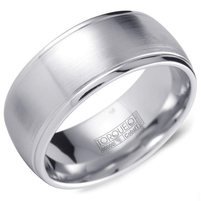 Gents White Cobalt Wedding Band w/ Brushed Finish & Polished Edges CB-2137 (9mm)