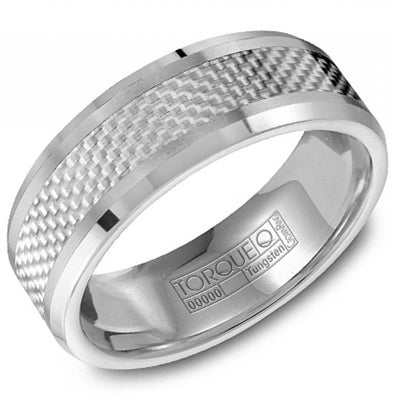 Torque Tungsten Silver Patterned Carbon Fiber Look Ring with Beveled Edges 8mm