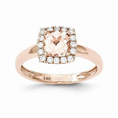 14K Rose Gold Antique Cushion Morganite and Diamond Halo Engagement Ring