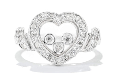 Adele Diamond 14K White Gold .50ctw Diamond Heart with Milgrain Detail Ring