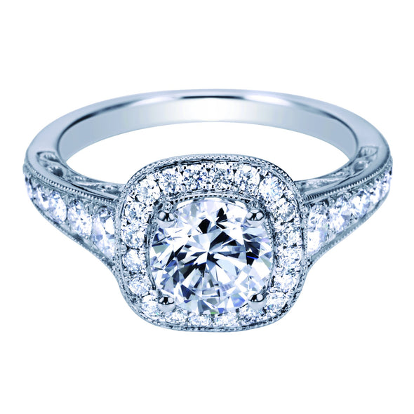 14K Victorian Cut Out Design Diamond Halo Engagement Ring