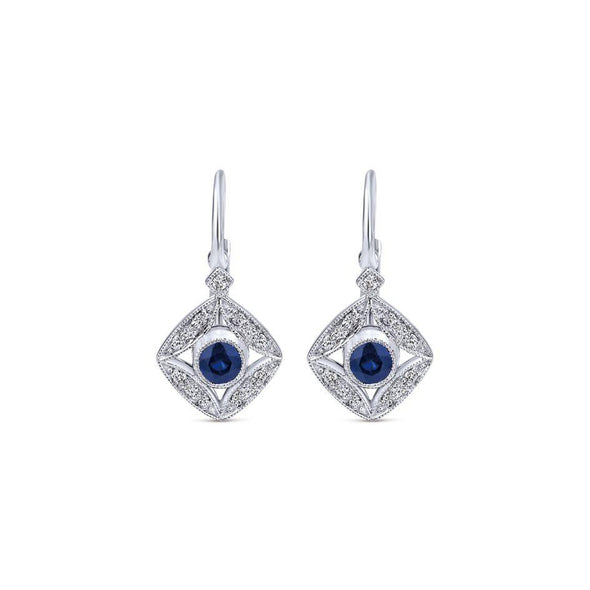 Gabriel NY 14k White Gold Leverback Blue Sapphire Earrings