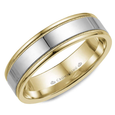 Gents 14K White & YG Wedding Band WG Center & Milgrain Detailing WB-6912 (6mm)