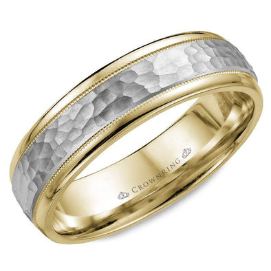 Gents 14K White & YG Wedding Band w/ Milgrain Detailing & Textured WG Center WB-7926 (6mm)