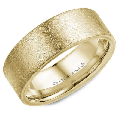 Gents 14K YG Wedding Band w/ Diamond Brushed Finish WB-025C8Y (8mm)