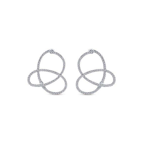 Gabriel NY 14k White Gold 1/2 Carat Diamond Huggie Hoop Earrings