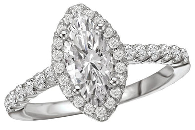 14K Contemporary Marquise Halo Diamond Engagement Ring
