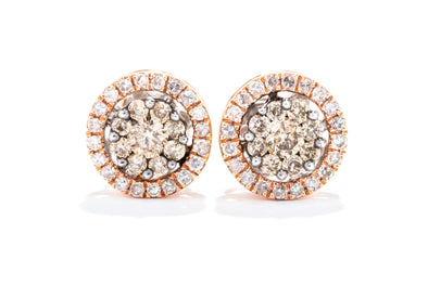 Adele Diamond 14K Rose Gold .50ctw Diamond Cluster Earrings