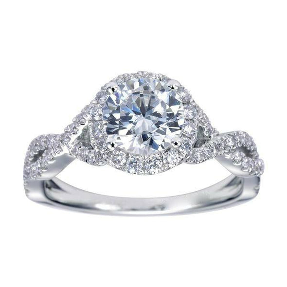 14K White Gold Contemporary Twist Shank Diamond Halo Moissanite Engagement Ring