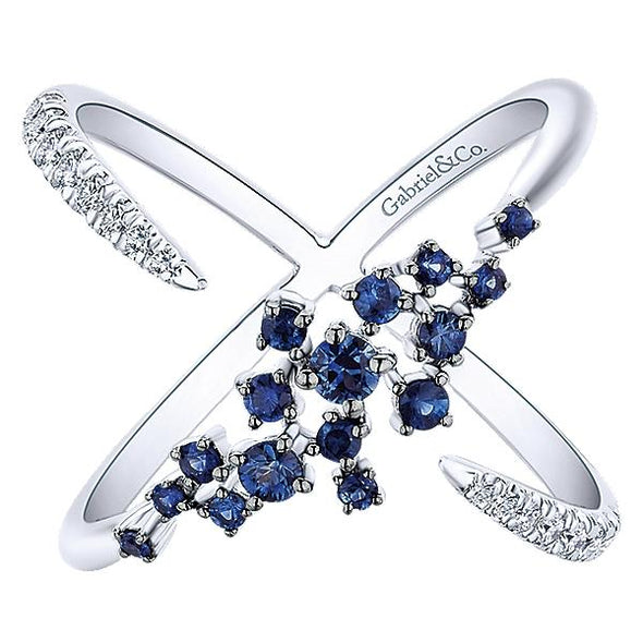 Gabriel NY Ladies 14K White Gold Diamond And Sapphire Fashion Ring LR51167W45SA