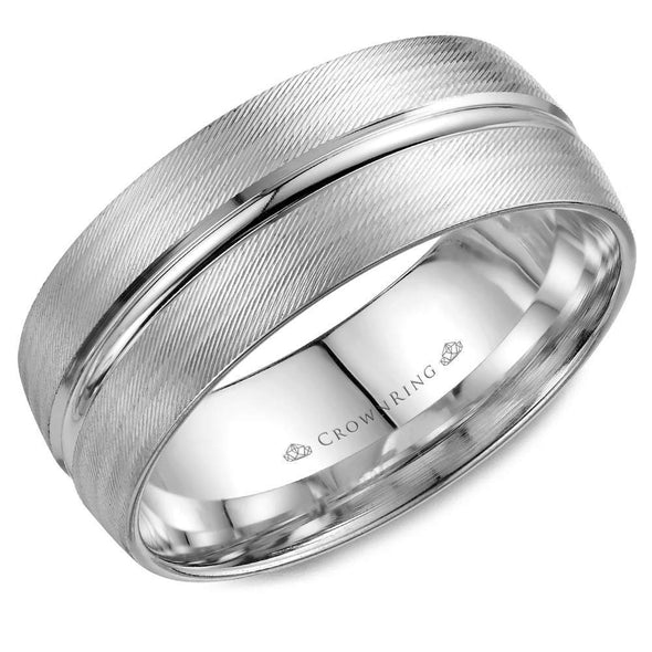 Gents 14K WG Textured Wedding Band w/ Line & Milgrain Detailing WB-7934 (8mm)
