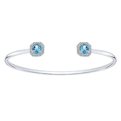 14K White Gold Diamond Swiss Blue Topaz Bracelet