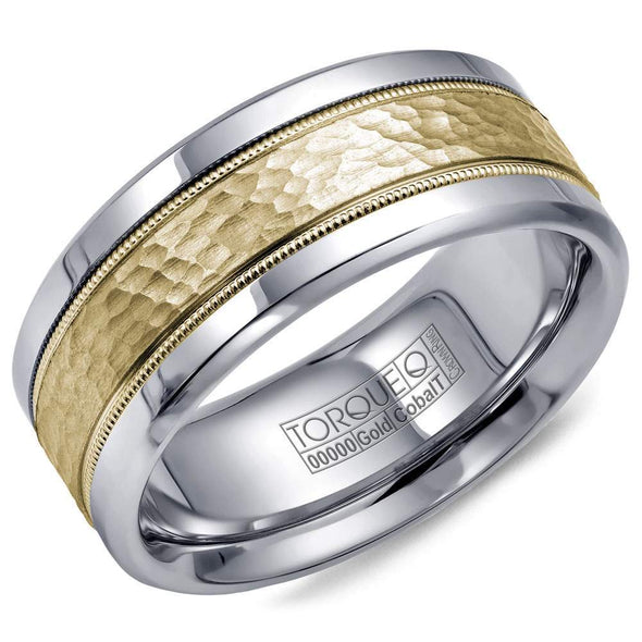 Gents Cobalt & Gold Wedding Band w/ Hammered Yellow Gold Center & Milgrain Detailing CW003MY9 (9mm)