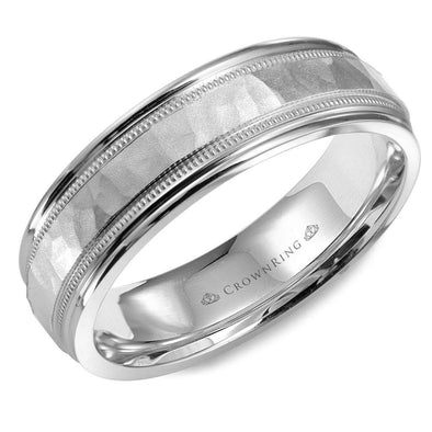 Gents 14K WG Wedding Band w/ Hammered Center, Line & Milgrain Detailing WB-9917 (6mm)